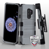 Slate Blue Brushed/Black TUFF Hybrid Phone Protector Cover [Military-Grade Certified](with Black Horizontal Holster)