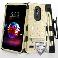 Gold/Black FullStar TUFF Hybrid Protector Cover (with Magnetic Metal Stand)[Military-Grade Certified](with Black Horizontal Holster)