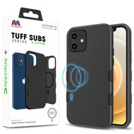 MyBat TUFF SUBS SERIES Hybrid Case + AttachMe with MagSafe Compatible for Apple iPhone 12 mini (5.4) - Rubberized Black / Black
