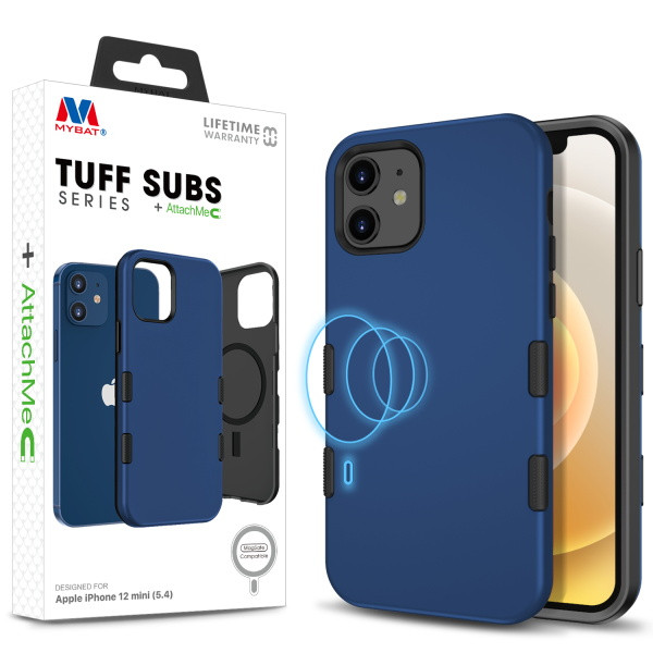 MyBat TUFF SUBS SERIES Hybrid Case + AttachMe with MagSafe Compatible for Apple iPhone 12 mini (5.4) - Rubberized Navy Blue / Black