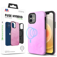 MyBat FUSE HYBRID SERIES + AttachMe with MagSafe Compatible for Apple iPhone 12 mini (5.4) - Blush Rose / Black
