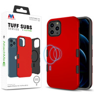 MyBat TUFF SUBS SERIES Hybrid Case + AttachMe with MagSafe Compatible for Apple iPhone 12 Pro (6.1) / iPhone 12 (6.1) - Rubberized Red / Black