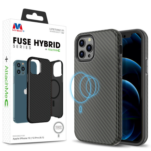 MyBat FUSE HYBRID SERIES + AttachMe with MagSafe Compatible for Apple iPhone 12 Pro (6.1) / iPhone 12 (6.1) - Black Carbon Fiber Texture / Black