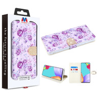 MyBat MyJacket Wallet Diamond Series for Samsung Galaxy A52 5G - Fresh Purple Flowers
