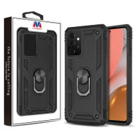 MyBat Anti-Drop Hybrid Protector Case (with Ring Stand) for Samsung Galaxy A72 5G - Black / Black
