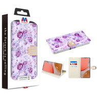 MyBat MyJacket Wallet Diamond Series for Samsung Galaxy A72 5G - Fresh Purple Flowers