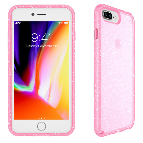 Speck - Presidio Clear  Glitter Case for Apple iPhone 8 Plus  /  7 Plus - Bella Pink and Gold Glitter