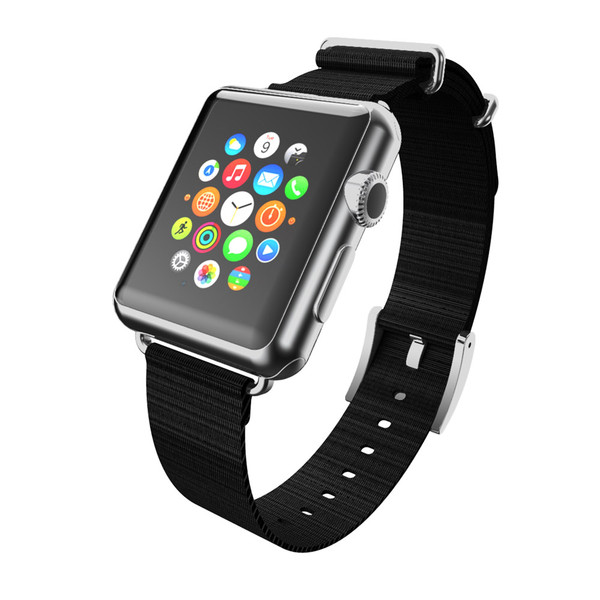 Apple Watch 42mm Incipio Nato Style Woven Nylon Watchband - Black With Silver Buckle