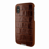 Piel Frama 791 Brown Crocodile FramaSlimGrip Leather Case for Apple iPhone X / Xs