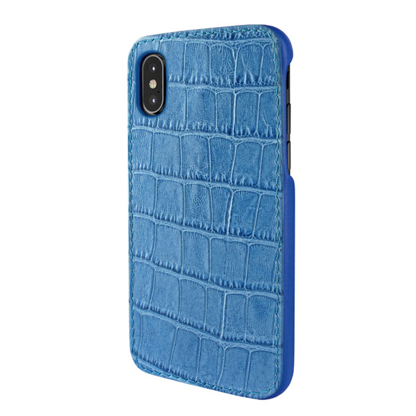 low priced 128b7 86f13 Piel Frama 791 Blue Crocodile FramaSlimGrip Leather Case for Apple iPhone X  / Xs