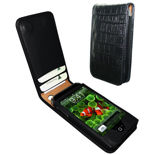 Piel Frama 982 Black Crocodile Pattern Magnetic Leather Case for Apple iPhone 3G / 3GS