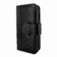 Piel Frama 817 Black Ostrich WalletMagnum Leather Case for Apple iPhone Xr