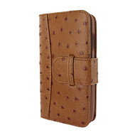 Piel Frama 817 Tan Ostrich WalletMagnum Leather Case for Apple iPhone Xr