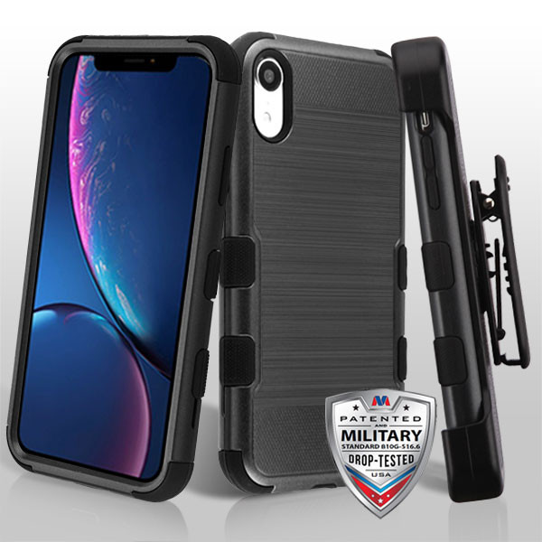 iPhone Xr Black Brushed/Black TUFF Hybrid Phone Protector Cover [Military-Grade Certified](with Black Horizontal Holster)