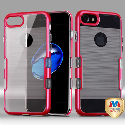 iPhone 7 Metallic Red/Transparent Clear TUFF Brushed Panoview Hybrid Protector Cover (with Package)