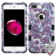 iPhone 7 Plus Purple European Flowers/Black TUFF Hybrid Phone Protector Cover [Military-Grade Certified]