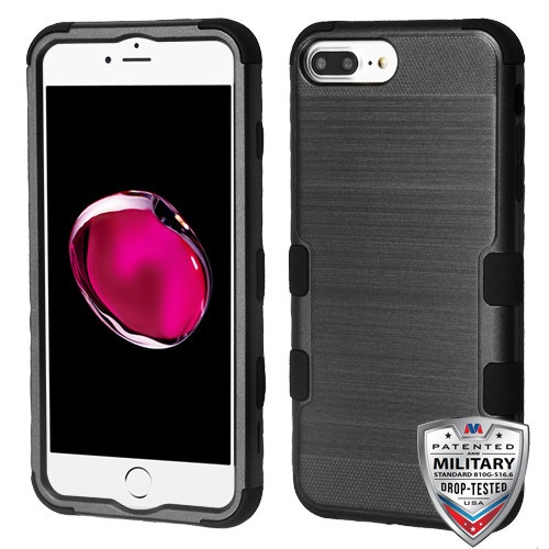 iPhone 7 Plus Black Brushed/Black TUFF Hybrid Phone Protector Cover [Military-Grade Certified](with Package)