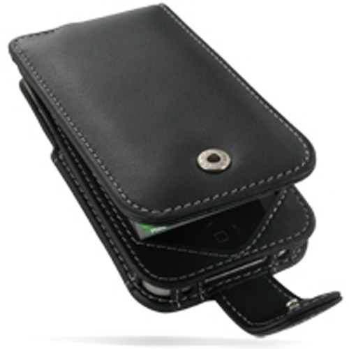 PDair Black Leather Flip-Style Case for Apple iPhone 4 / 4S