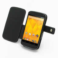 PDair Black Leather Book-Style Case for Google Nexus 4