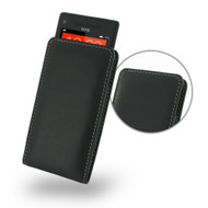 PDair Black Leather Vertical Pouch for HTC 8X