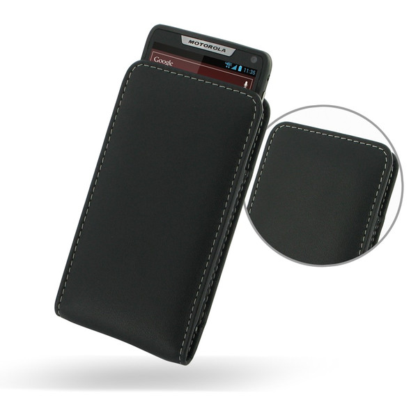 PDair Black Leather Vertical Pouch for Motorola Droid RAZR M