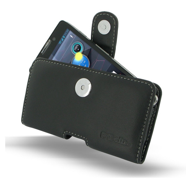 PDair Black Leather Horizontal Pouch for Motorola Droid RAZR MAXX HD