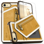 ZIZO NEBULA Wallet Series Compatible with iPhone 8 Case Tempered Glass Screen Protector Leather Folio Card Slots iPhone 7 Case LIGHT BROWN BROWN NEB-IPH7-LBBR
