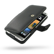 PDair Black Leather Book-Style Case for HTC One