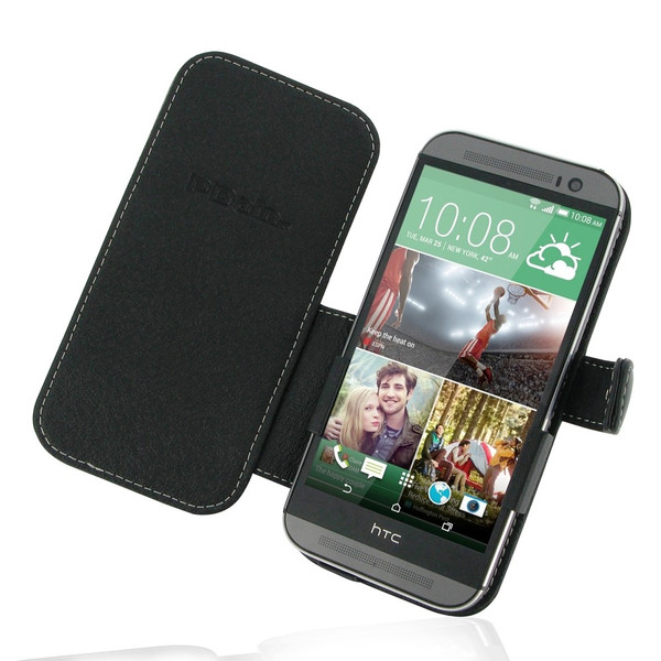 PDair Black Leather Book-Style Case for HTC One M8