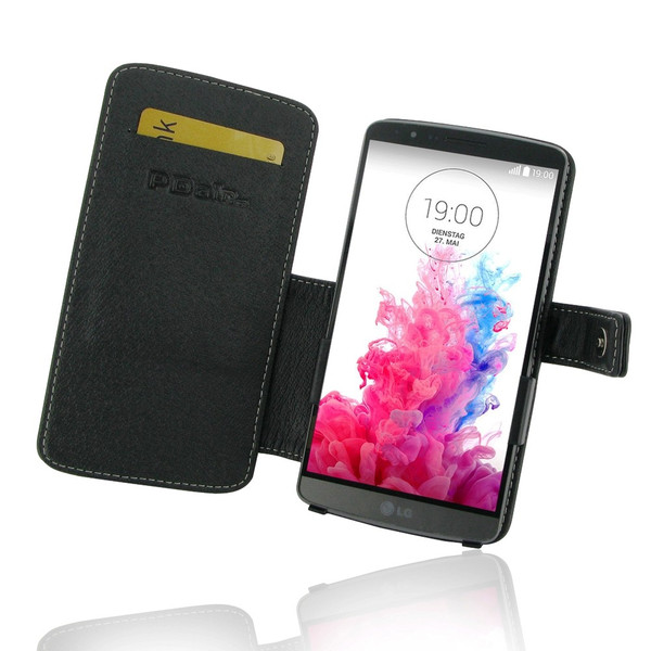 PDair Black Leather Book-Style Case for LG G3