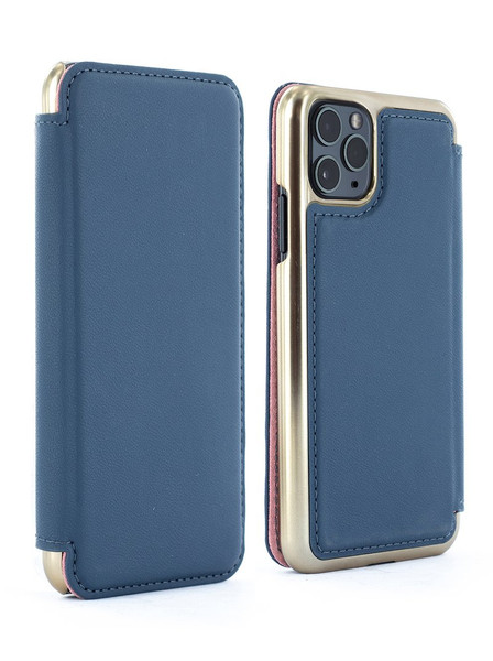 Greenwich - AW19, WALKER (Apple iPhone 11 Pro Max) Alcantara Folio Case with Card Slot and Electroplated Gunmetal Shell