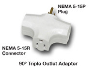 Tri Tap Power Adapter 90 Degree