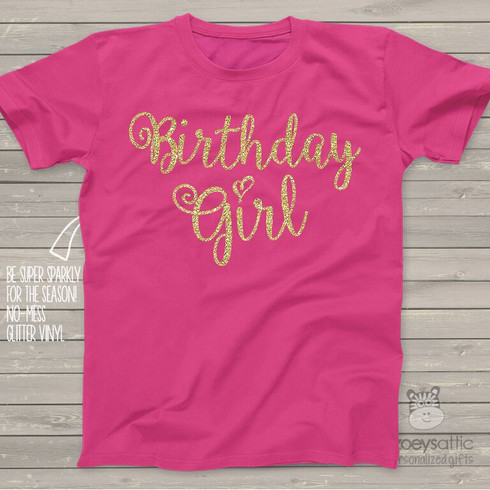 Glitter Birthday Shirt Sparkle Birthday Girl Dark T Shirt