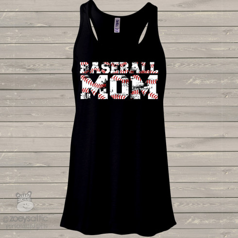 Womens Baseball Tank Top Distressed Lettering Baseball