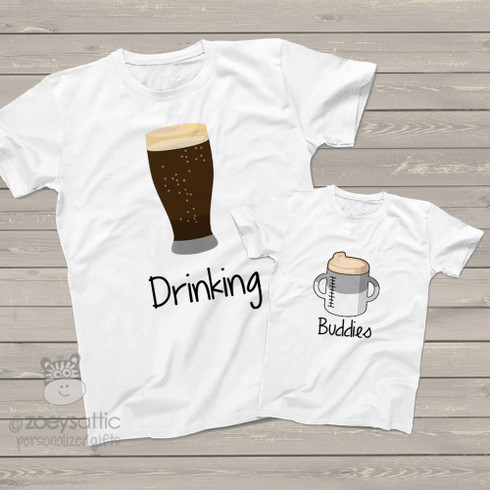 Dad Kiddo Shirt Gift Set Drinking Buddies Beer Sippy Cup