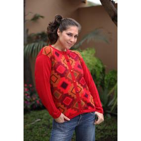 Womens Superfine Alpaca Wool CHACANA Intarsia Cardigan Sz M
