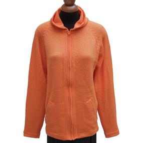 Hooded Alpaca Wool Jacket SZ XL Orange