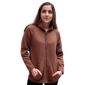 Hooded Alpaca Wool Jacket SZ XL Camel