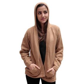 Hooded Alpaca Wool Jacket SZ M Tan
