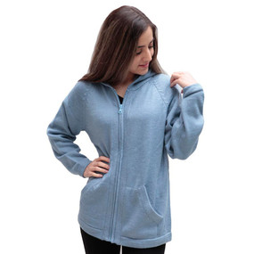 Hooded Alpaca Wool Jacket SZ M Light Blue (14F-092-551M)