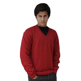Mens Superfine Alpaca Wool Vneck Sweater SZ M Red