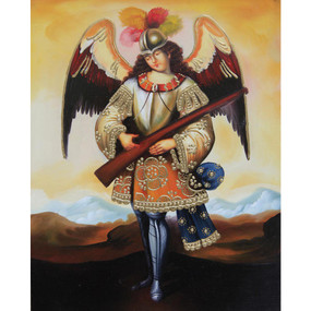 "Military Archangel Cuzco School Oil Painting On Canvas  10""H x 8""W"