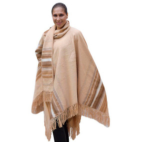 Ethnic Alpaca Wool Poncho & Scarf Beige One SZ