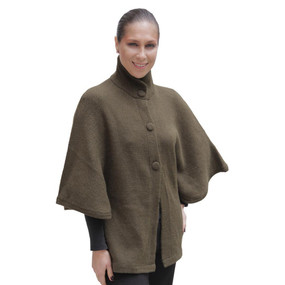 Womens Alpaca Wool Poncho with Sleeves SZ M Leaf Green