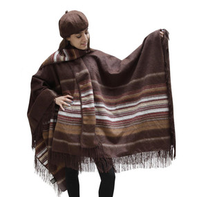 Fringed Alpaca Wool Woven Poncho with Matching Scarf & Beret Brown One SZ
