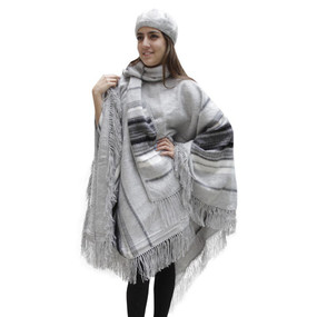 Fringed Alpaca Wool Woven Poncho with Matching Scarf & Beret Silver One SZ