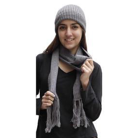 Superfine Alpaca Wool Beanie Hat & Scarf Set Gray