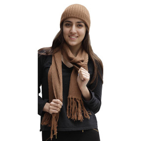 Superfine Alpaca Wool Beanie Hat & Scarf Set Camel