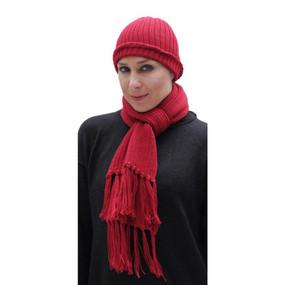 Superfine Alpaca Wool Beanie Hat & Scarf Set Red