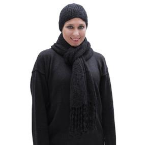 Superfine Hand Knitted Alpaca Wool Beanie Hat & Chunky Scarf Black